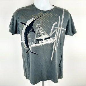 Guy Harvey Men's T-shirt Size Medium Gray Marlin F
